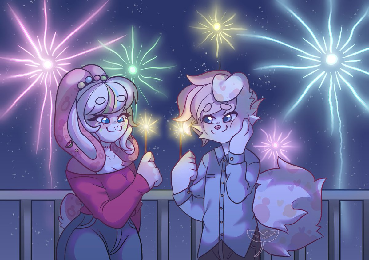 I wonder who their first kiss of the year will be? 😳😳 #NYE2020 #furryart #furry #fireworks
