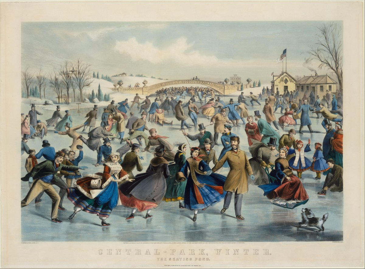 ❄️Winter Fun!  Central Park, Winter – The Skating Pond, 1862, lithograph, after a painting by Charles Parsons American @metmuseum   #winter #skating #Victorian #CentralPark #NYC #iceskating #fashion