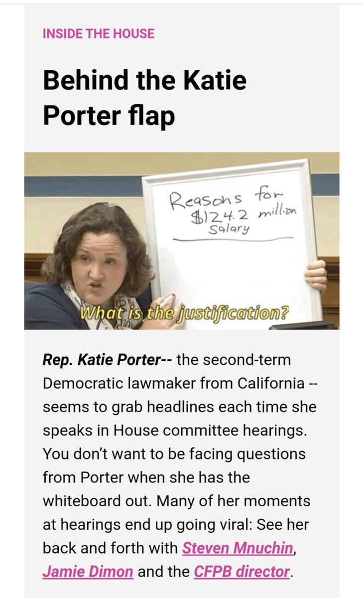 Punchbowl has some background on the Rep. Katie Porter Financial Services kerfuffle. It seems she tried an end run around Committee Chair Rep. Maxine Waters and found out.