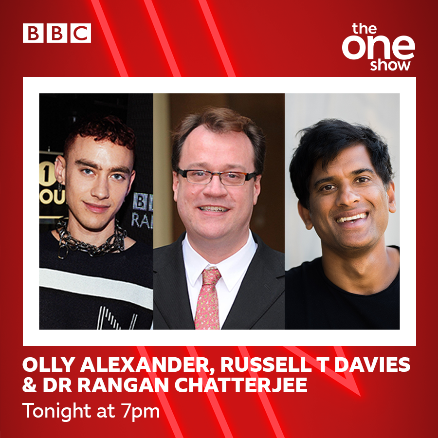On tonight's show @missalexjones is joined by @ronanofficial and some amazing guests including:  💫@alexander_olly and @russelldavies63 who tell us all about new drama It's A Sin.   💫@drchatterjeeuk who'll chat health and wellbeing  📺 Don't miss it! See you at 7pm  #TheOneShow