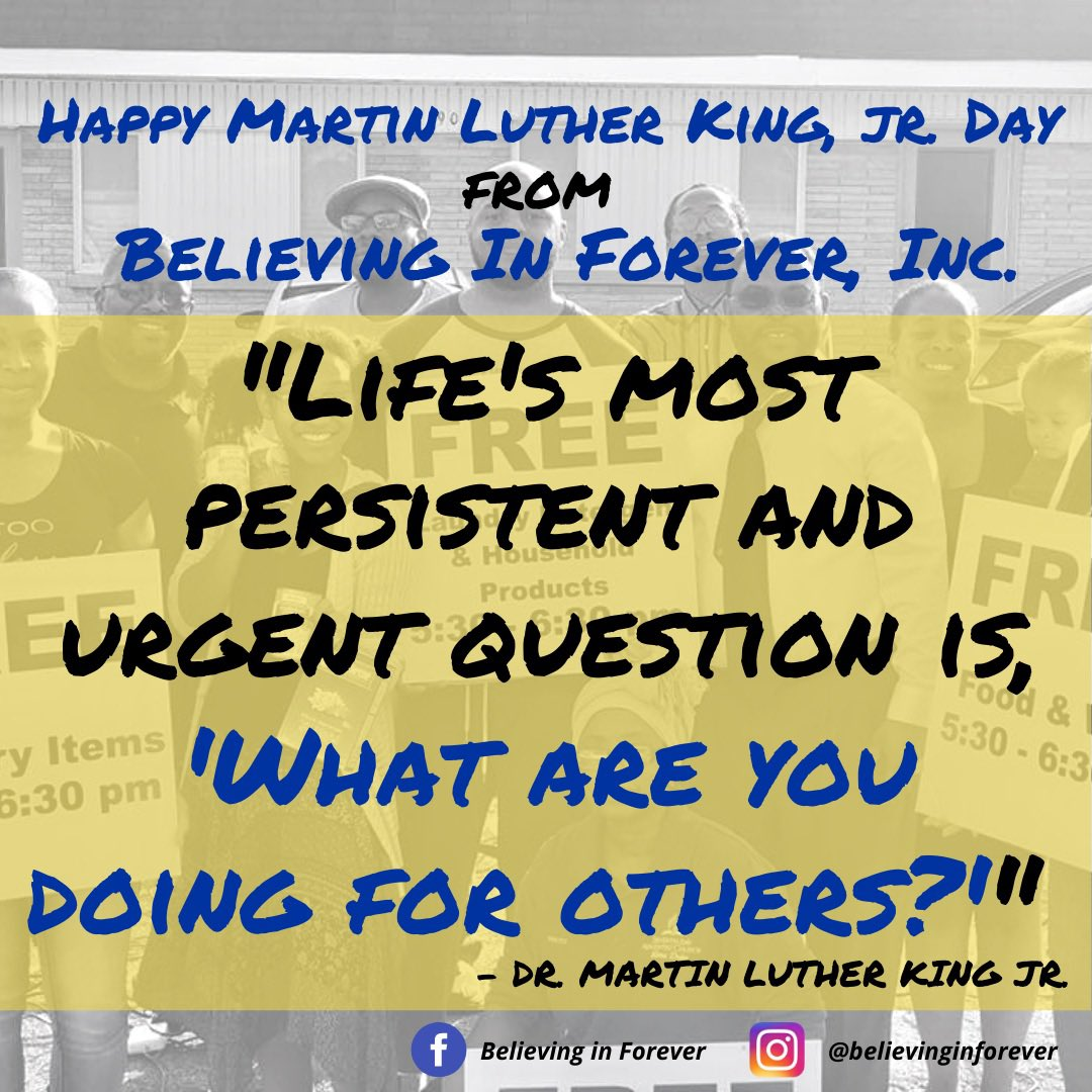 Happy #MLKDay! Remember, carrying on the legacy of our greats along to the you, IS #BelievingInForever! 🌎✊🏾