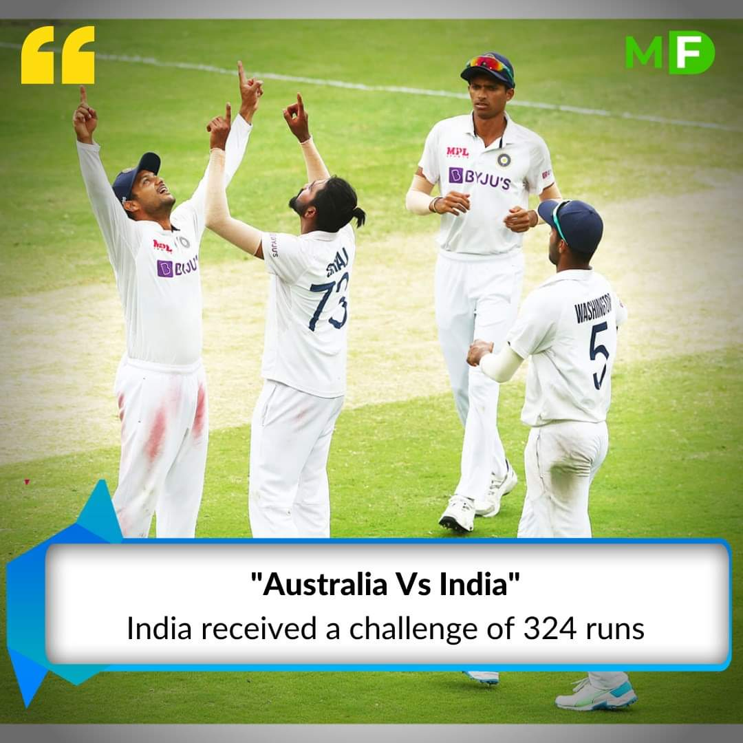 #AUSvIND Day 4  Indian Cricket Team has received a target of 324 runs and they have to complete this target 98.1 overs.   Download our app for more updates:   #Cricket #TestMatch #TestCricket #gabba #MyField