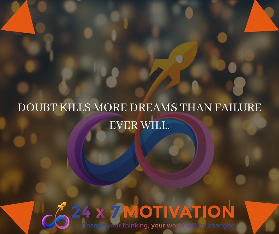 Doubt kills more dreams than failure ever will. #motivationalquotes #motivation #motivational #24x7motivation #quoteoftheday #quotes  #inspiration  #mindset #lifestyle #lifequotes #love #lifelessons #lesson #strength #likeforlikes #amazing  #nature #Hero #believe #dreams #Dream
