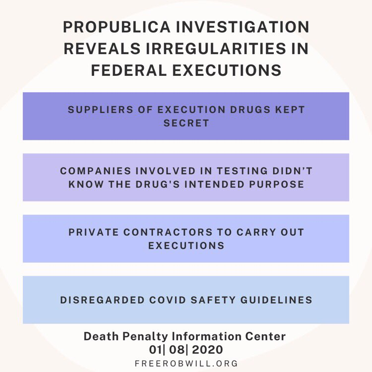 New report out by @propublica highlights some disturbing details regarding the already unprecedented series of federal executions. #AbolishTheDeathPenalty #endthedeathpenalty