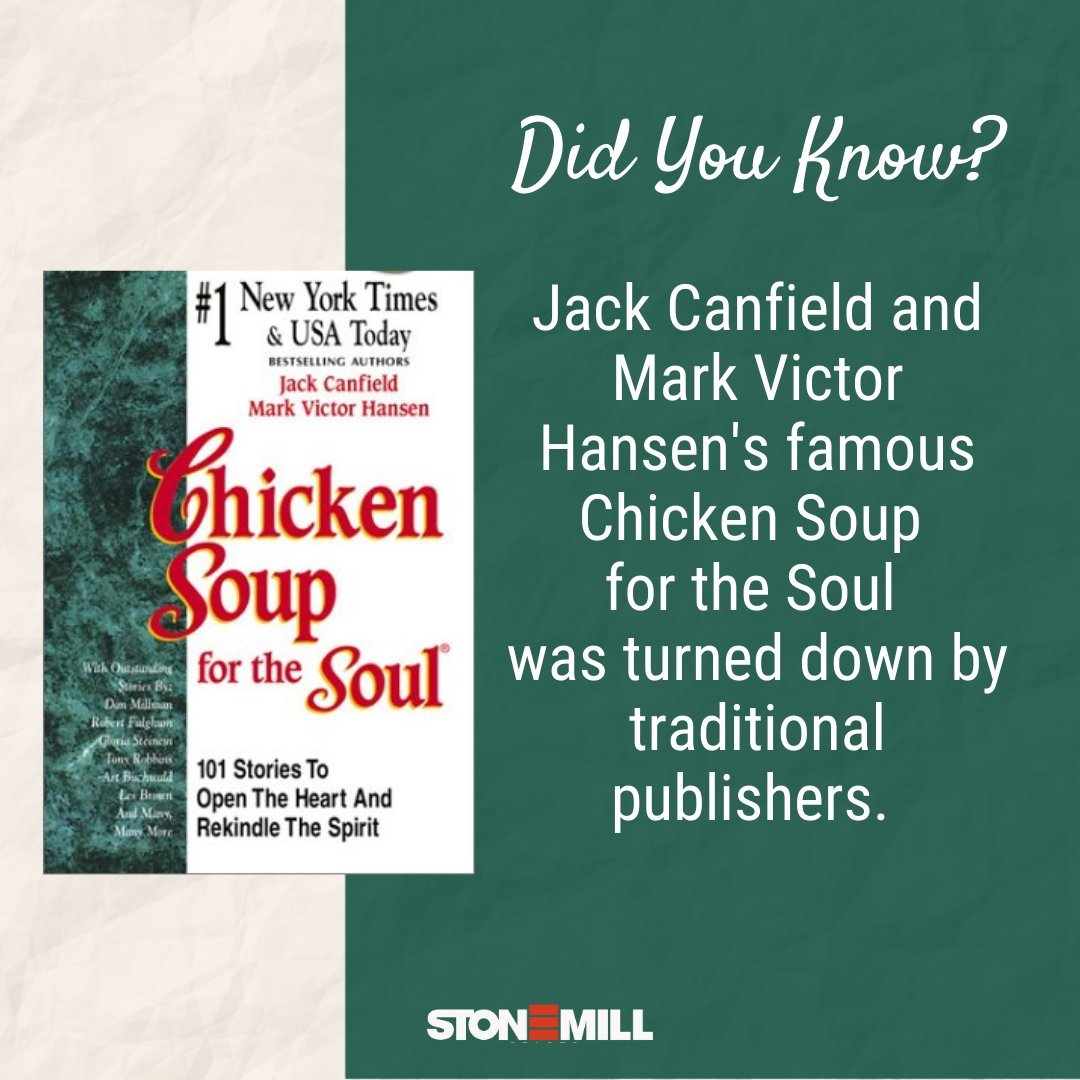 Did you know that The Chicken Soup for the Soul was rejected by traditional publishers?  See this Instagram post by @stonemillindia  for more interesting facts about this beloved book series!  @ChickenSoupSoul #writers #books #mondaymotivation #truestory
