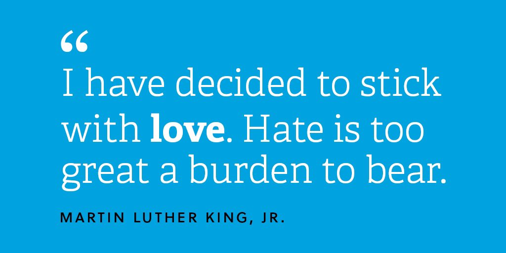 Honoring the work and legacy of Martin Luther King, Jr. Today, and everyday, we stick with love. 💙 #MotivationMonday #MLKDay