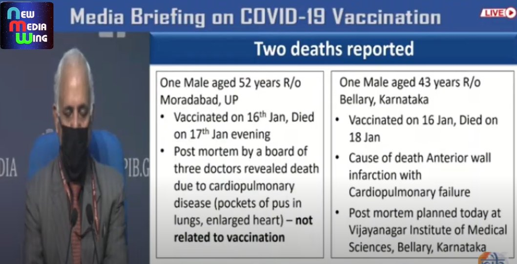 #IndiaFightsCorona    📍 Two deaths have been reported   1⃣ Male aged 52 years from Moradabad, Uttarpradesh due to cardiopulmonary disease (NOT RELATED TO VACCINATION)  2⃣ Male aged 43 years from Bellary, Karnataka due to anterior wall infarction with cardiopulmonary failure.