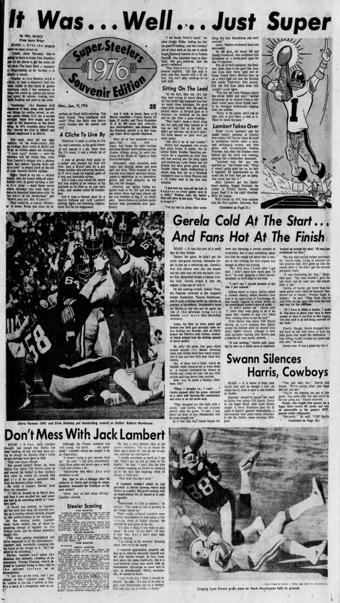 45 years ago (1/18/76): #Steelers beat #Cowboys 21-17 in Super Bowl X. #HereWeGo
