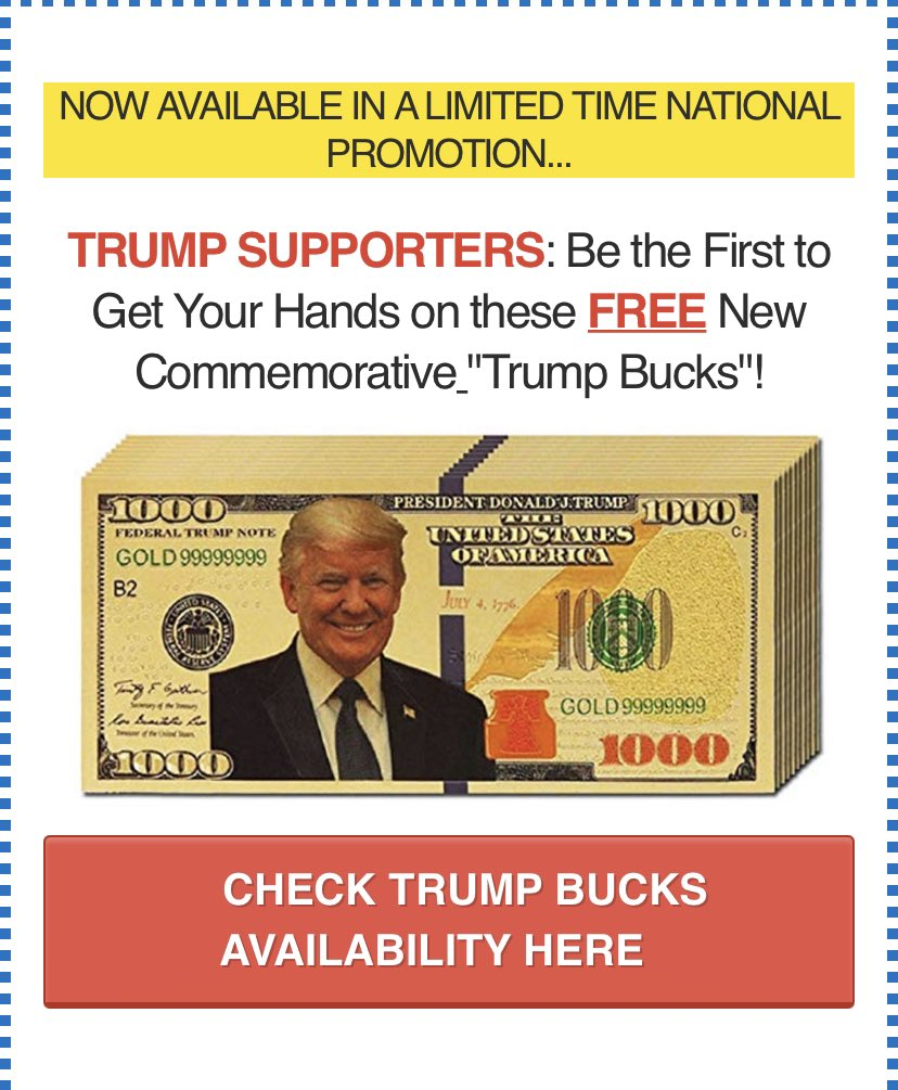 Who else do you know that has Trump bucks? Nobody! https://t.co/M5oQMIyq3I