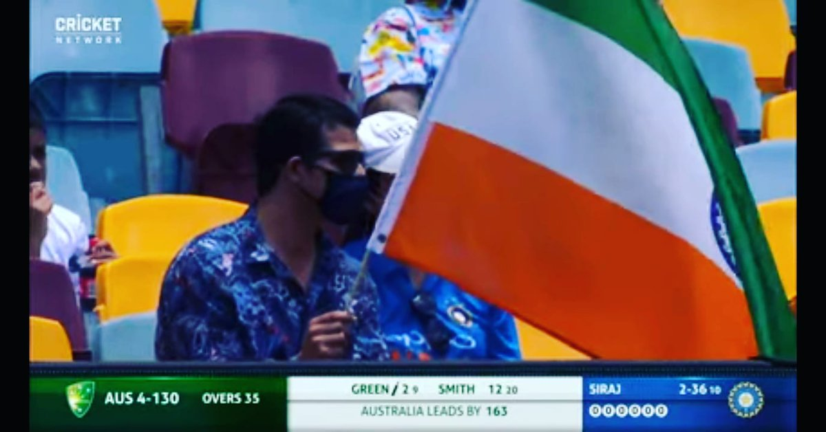 what is this . During the India and Australia 4 Tests, one person is holding the flag of India upside down. This is causing great insult to India in Australia. Australia Cricket Board should pay attention to this. And this should stop this from happening.  #INDvsAUS  #AUSvsIND