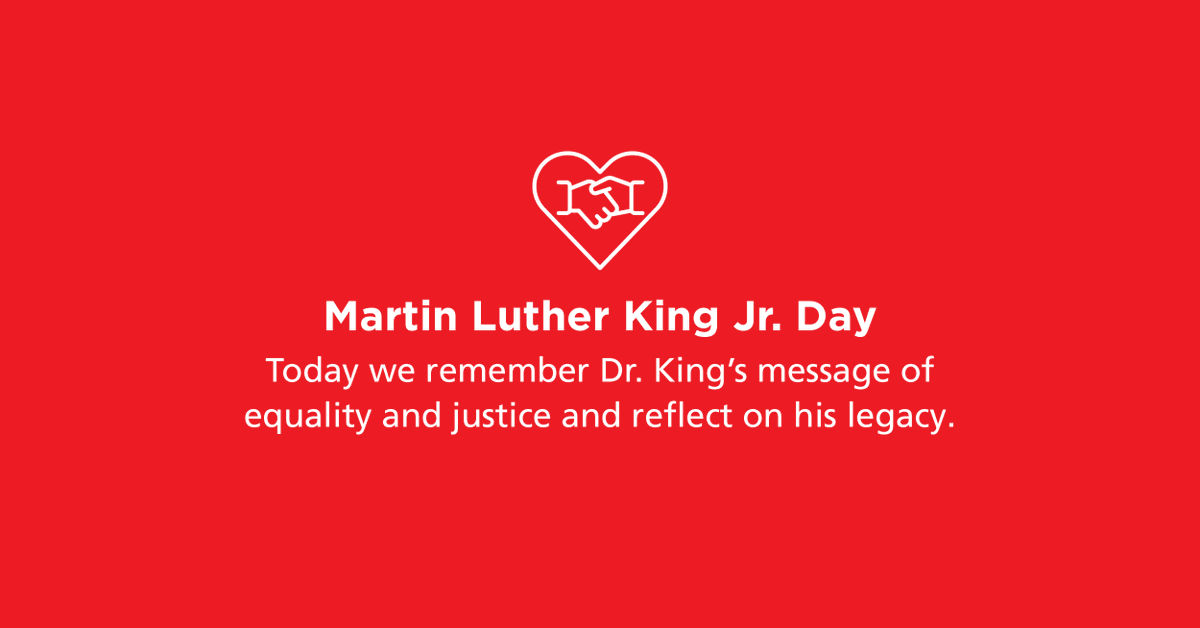 Today we remember Dr. King's message of equality and justice and reflect on his legacy. #MLKDay