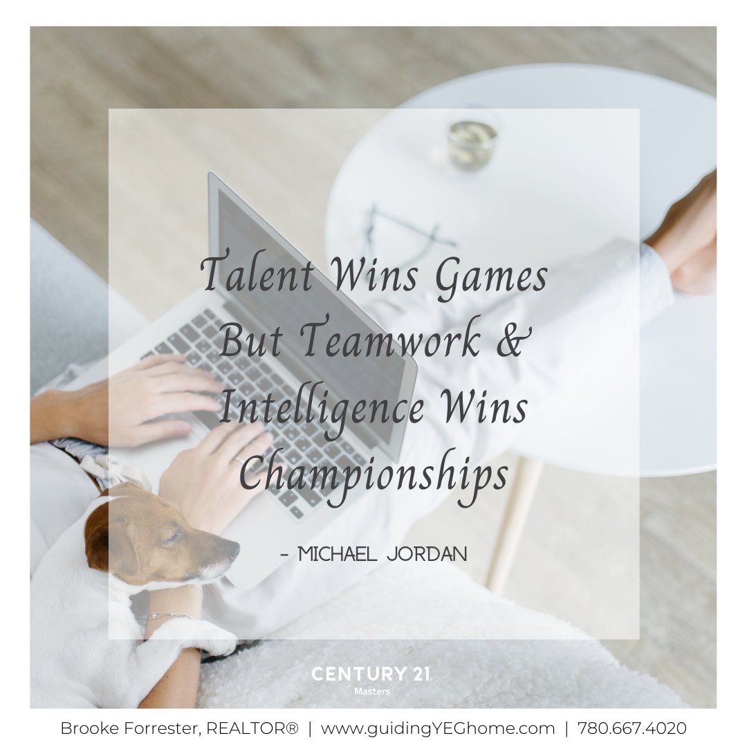 An equal balance of talent and teamwork is what wins championships.  . . . . . . . . . #motivationmonday #goals #hustle #wordstoliveby #fulltimefullservice #c21masters #edmontonliving #yeglocal #yeglife #yegbusiness #yegbuild...