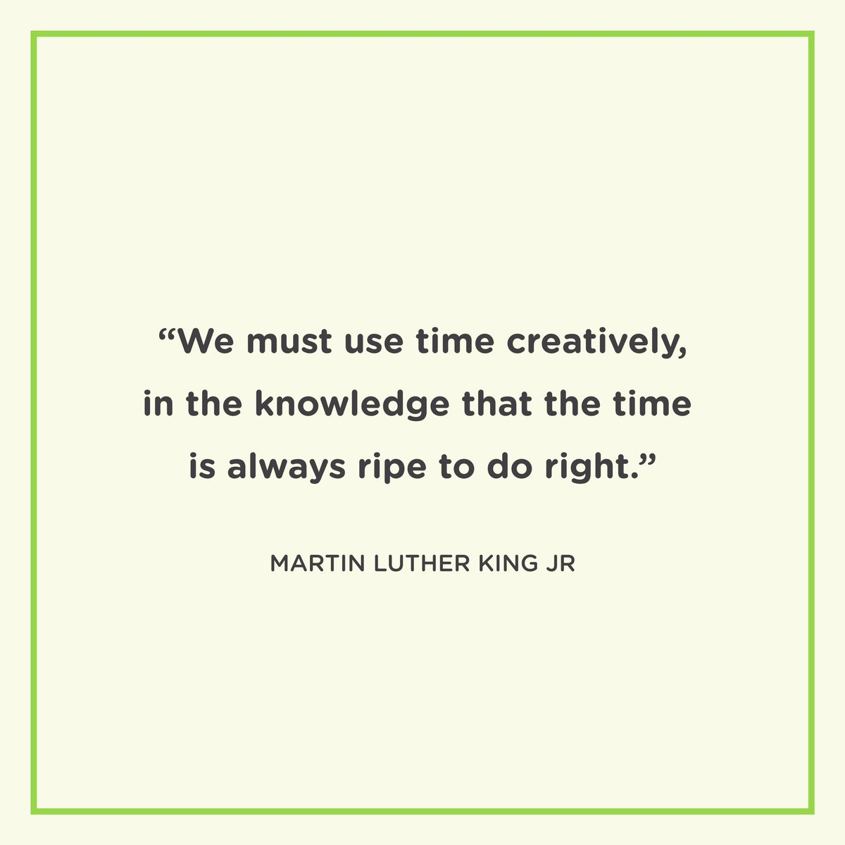 """We must use time creatively, in the knowledge that the time is always ripe to do right."" 🖤  #mlk #mlkquotes #mlkday #motivationalquotes #motivationmonday"
