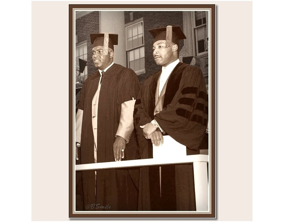 Baseball legend Jackie Robinson & Martin Luther King Jr. receive honorary Doctor of Laws degrees from Howard University (1957) #MLKDay