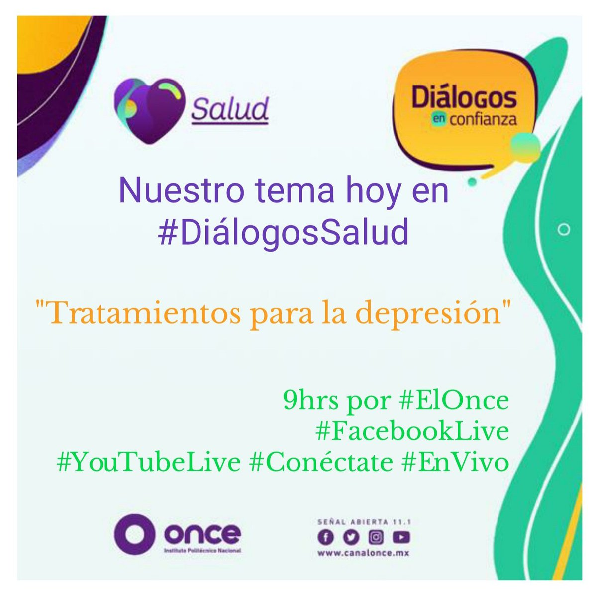Según la OMS, la depresión es una de las principales causas de discapacidad  📌 #Conéctate 📲 hoy y conoce los tratamientos para recibir atención oportuna 9hrs   ✅ #YouTubeLive   ✅ #FacebookLive   ✅ #Blog