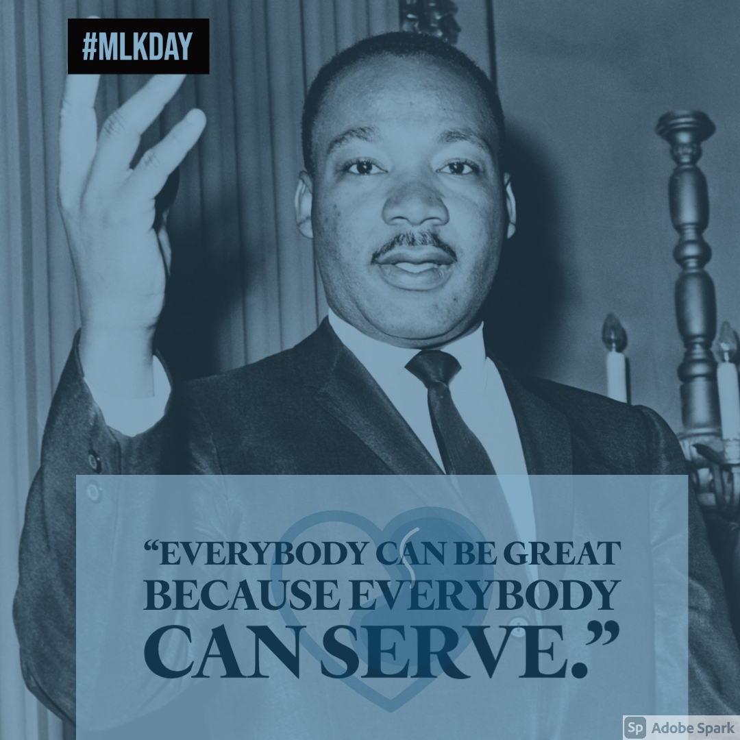 Today is Martin Luther King Jr. Day. Make your day off a day ON and begin the year with a commitment to making your community a better place.  #MLKDay #volunteering #beablessing #givingback #getinvolved #makeadifference #bethechange