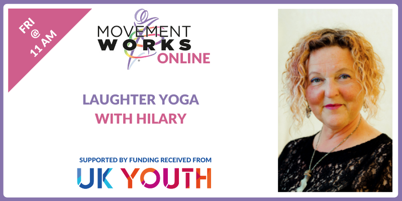 #LaughterYoga with Hilary at 11am - part of our #MovementWorks online programme funded by @UKYouth still time to register  #LaughStressGoodbye #FeelGoodFriday #Wellbeing #MentalHealth #PhysicalActivity #ActionForLearning