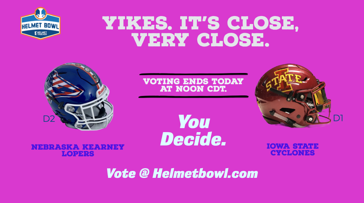 Last chance to vote - the contest ends at noon today.  Vote:   @DraftDiamonds @CFBPlayoff @ESPNCFB @UNK_Athletics @NCAADII @NCAAFootball  @UNKAlumn @CycloneFB @isualum @UNK_Football @Big12Conference @TheMIAA