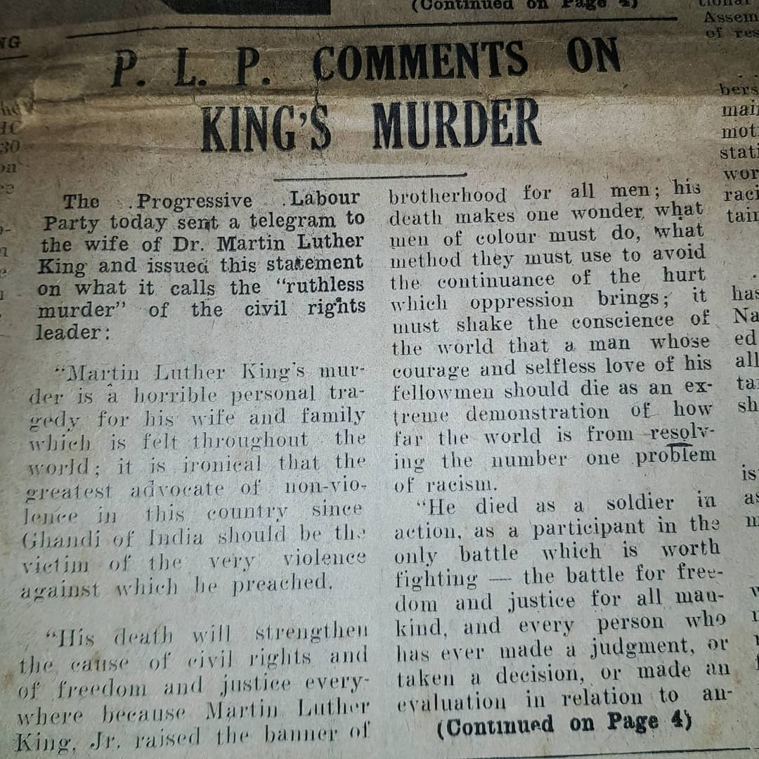"How the Bermuda Recorder covered the assassination of Dr. King   ""The evils of capitalism are as real as the evils of materialism and evils of racism""  ~ Dr. Martin Luther King Jr #Bermuda🇧🇲 #MLKDay"