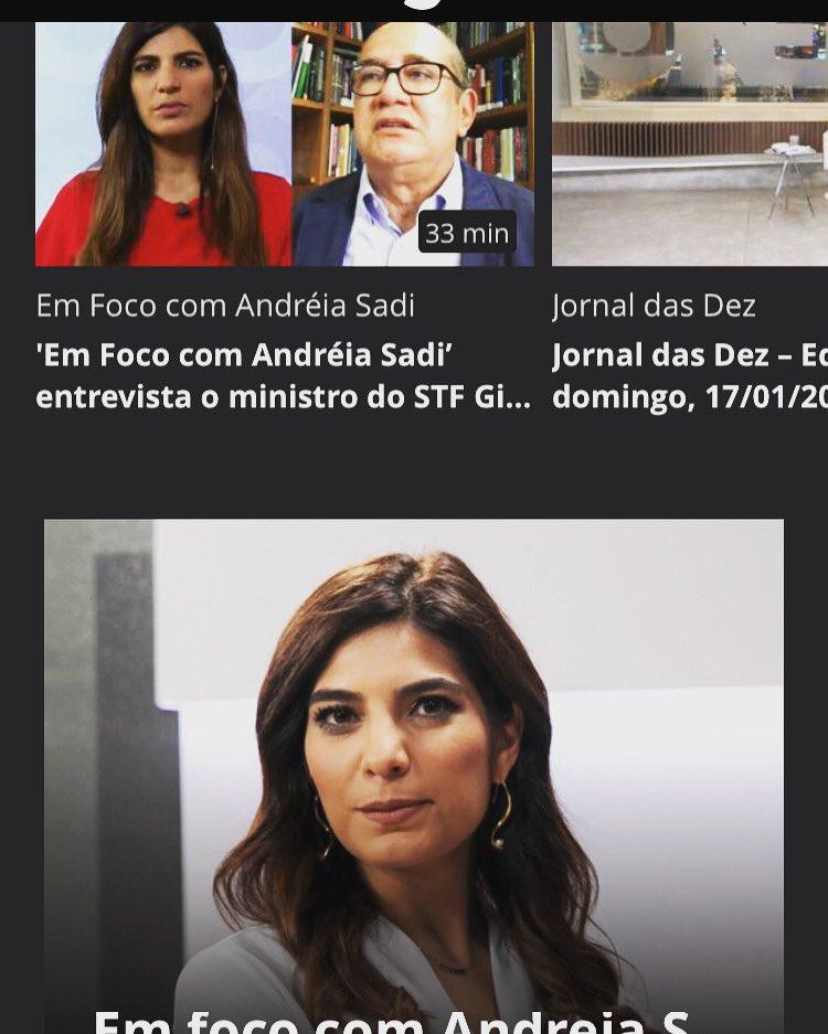 P/quem não viu ontem, seus problemas acabaram 😂❤️: #EmfococomAndreiaSadi com ministro @gilmarmendes já está no app da @GloboNews, no Canais Globo. 👇🏽👇🏽
