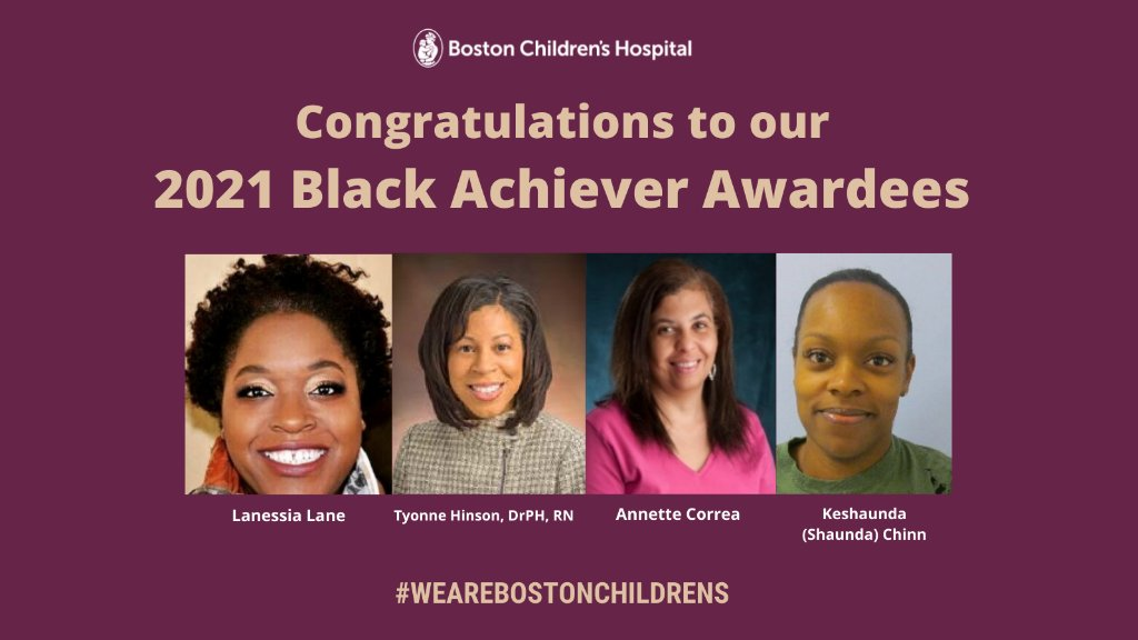 Congratulations to our 2021 Black Achiever Awardees! We are honored to work with these role models in our Boston Children's community. Watch our virtual ceremony, featuring keynote speaker Congresswoman @AyannaPressley, here:  #MLKDay #WeAreBostonChildrens
