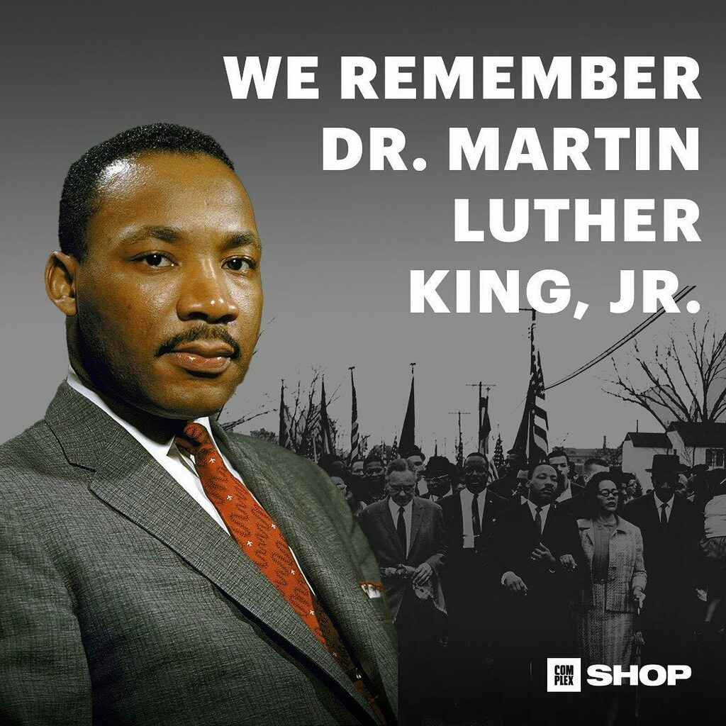 We remember the life and legacy of Dr. Martin Luther King Jr. 🙏🏾🙏🏿🙏🏻   Happy #MLKDay from the #ComplexShop team ✨