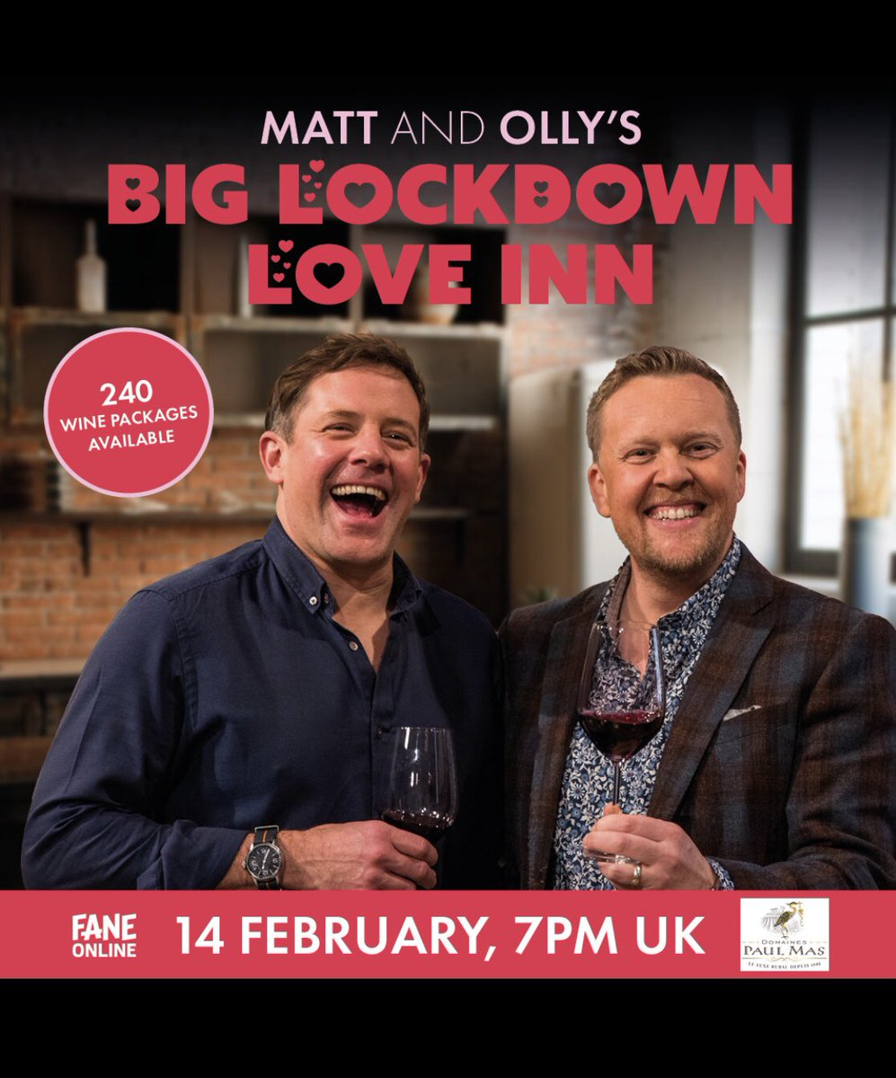 No plans for 14th Feb? Join me and Olly at the Lockdown Love Inn .. Live at 7pm