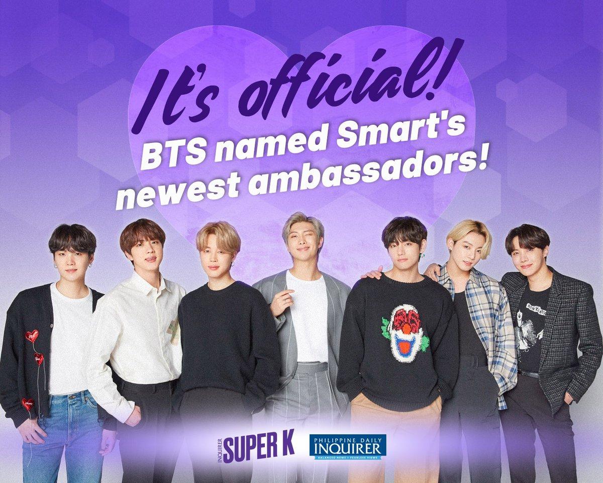 Inquirer SUPER's Instagram über #BTS's Werbevertrag mit SMART. Sie werden Teil der 'Passion with Purpose' Kampagne sein.   Instagram  ➡️   #BTS #방탄소년단 @BTS_twt #BTSARMY