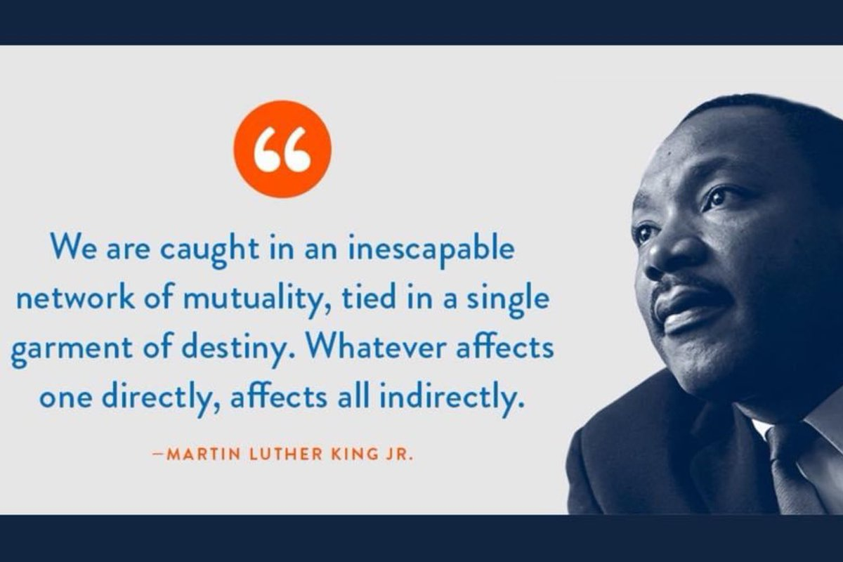 We are in this together but all of us don't know it yet. Some people need to catch up!   Take time to ponder our collective sustainability today.  #MLKDay2021 #MLK #MLKDay #MondayMotivation #MartinLutherKingDay