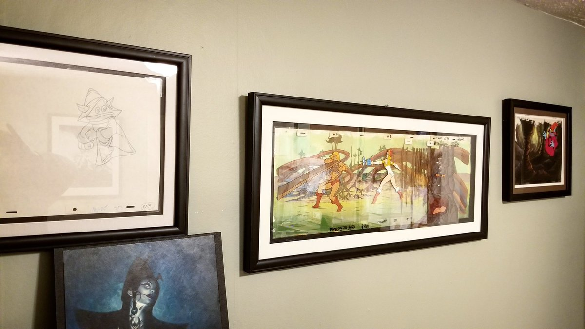 Day 7. #artistsontwitter #studio a couple of original #MOTU #MastersoftheUniverse #animation cels #HeMan is some of my favorite art I've collected over the years.