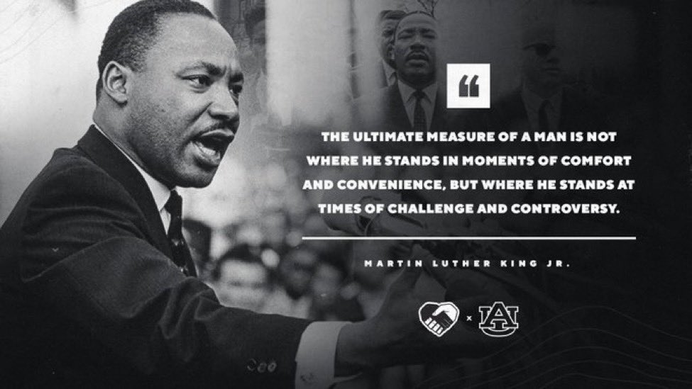 Today, we reflect and honor the legacy of Martin Luther King, Jr.  Together, we will make change.   #WarEagle | #MLKDay