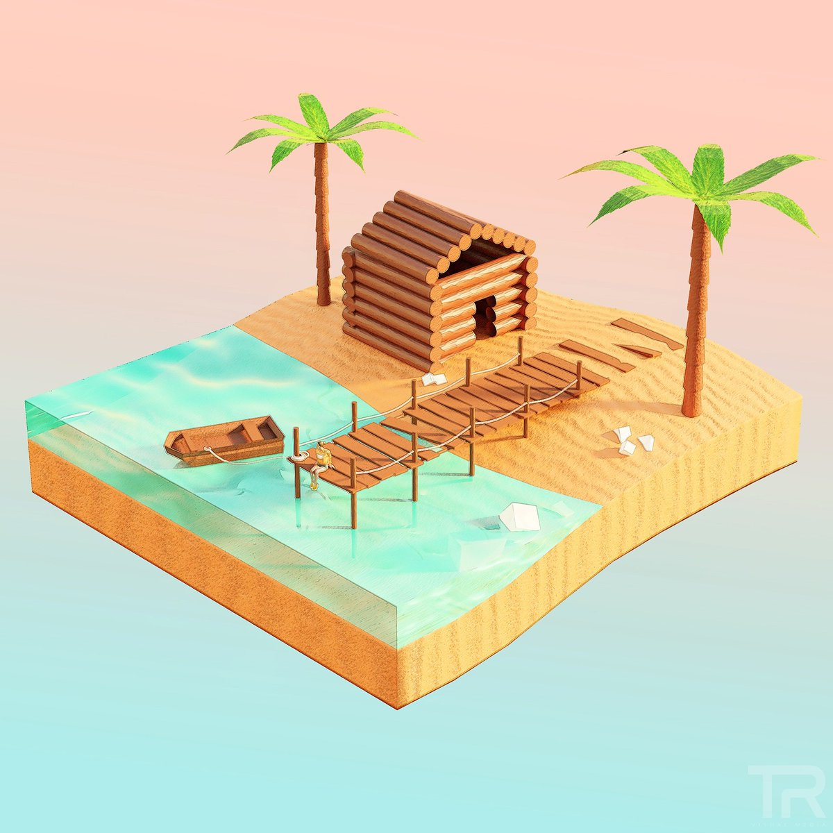 Its cold and dark and everything sucks so thought I'd make somewhere i'd quite like to be right now #blender3d #diorama #summer #holiday