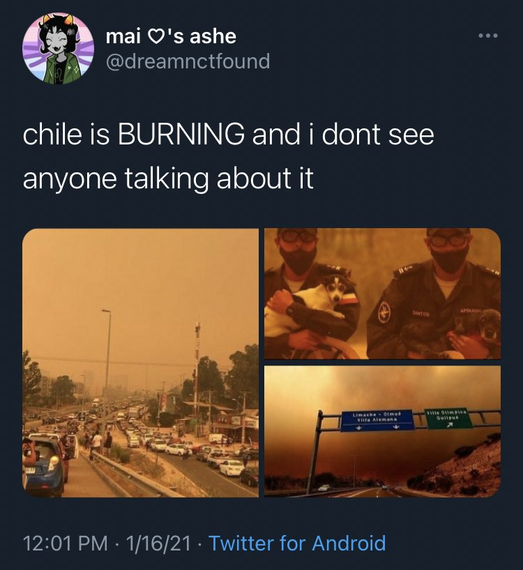 """THIS is what Latinos mean when we say no one gives a SHIT about us. when is the US everyone drops everything to spread the word and help out but when it's Latin America people can make edits of devastating forest fires and call it """"aesthetic"""" and use it to promo songs."""