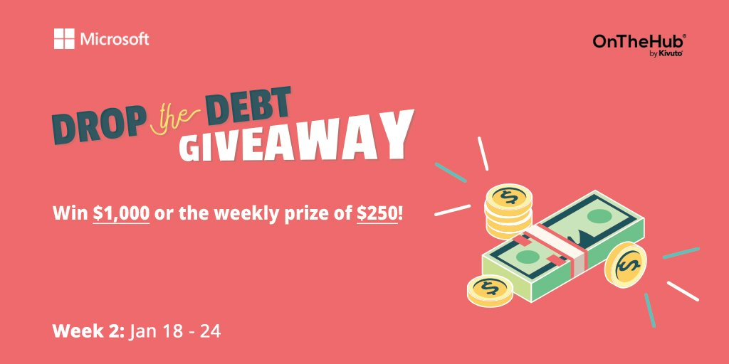 It's the 2nd week of our annual #DropTheDebt Giveaway, brought to you by Microsoft and @OnTheHub. Enter now and refer your friends to maximize your chances to win! Remember every entry counts towards the $1,000 grand prize! 👉  . . #DTD2021