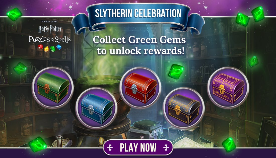 Collect Green Gems during #SlytherinCelebration to open as many chests as you can while the event is active!  Collect Green Gems NOW ➡️   #HarryPotterPuzzlesAndSpells #Match3 #Slytherin