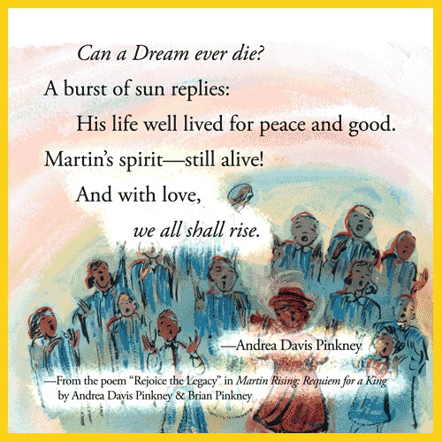 Happy #MartinLutherKingDay! Today we remember him and celebrate his legacy by reading Martin Rising by @AndreaDavisPink & Brian Pinkney.
