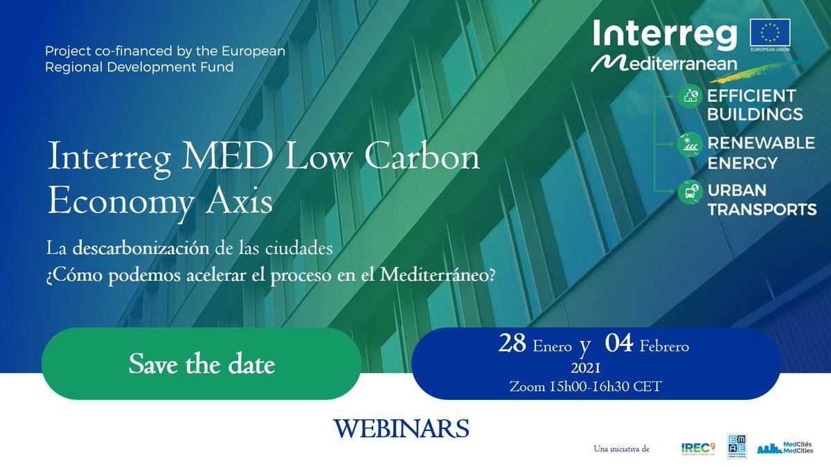 Os animamos a participar en este #webinar sobre las estrategias de descarbonización, la integración de la eficiencia energética y la movilidad sostenible en dos sesiones organizadas por @MEDProgramme   Organizan @IREC_Energia @MedCities  @EMEAorg   #IRECevents #EfficientBuildings