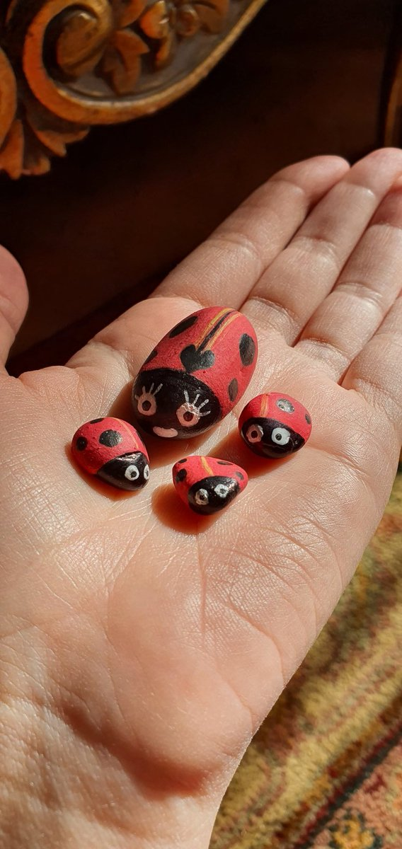 Made a family of Ladybugs out of pebbles that I have collected, using acrylic paint #ladybug #art #rock #pebble