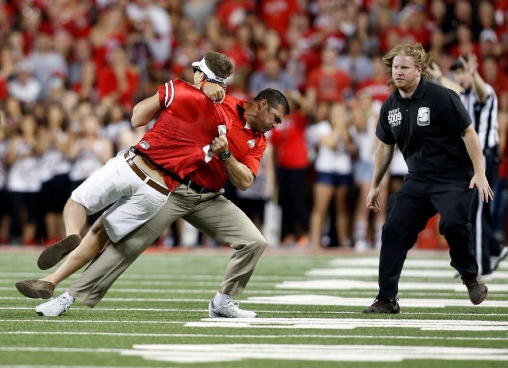 Anthony Schlegel, who famously did THIS to a fan who stormed the field at an Ohio State game, will now be a part of Urban Meyer's staff in Jacksonville.  @TonyKhan, I think you know what needs to be done! #AEWDynamite