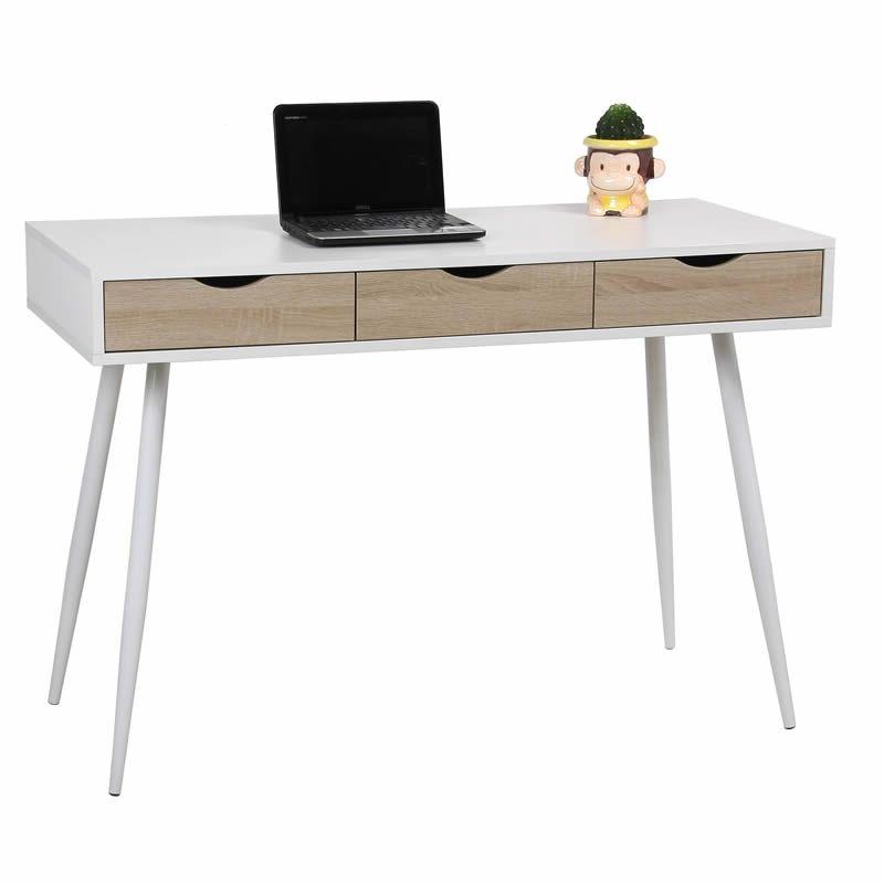 Mesa de Escritorio en Blanco y Roble  Para más información y precio, pincha en el enlace 👇  #mesa #escritorio #blanco #blanca #roble #trabajo #teletrabajo