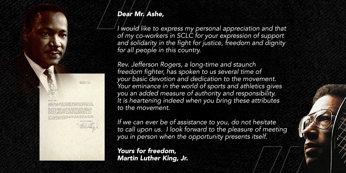 Arthur Ashe received a letter from Martin Luther King Jr. in 1968 to thank him for his support in the fight for justice and freedom.  King's legacy of hope, social justice and equality lives on today. #MLKDay https://t.co/TOuPKfZpk2