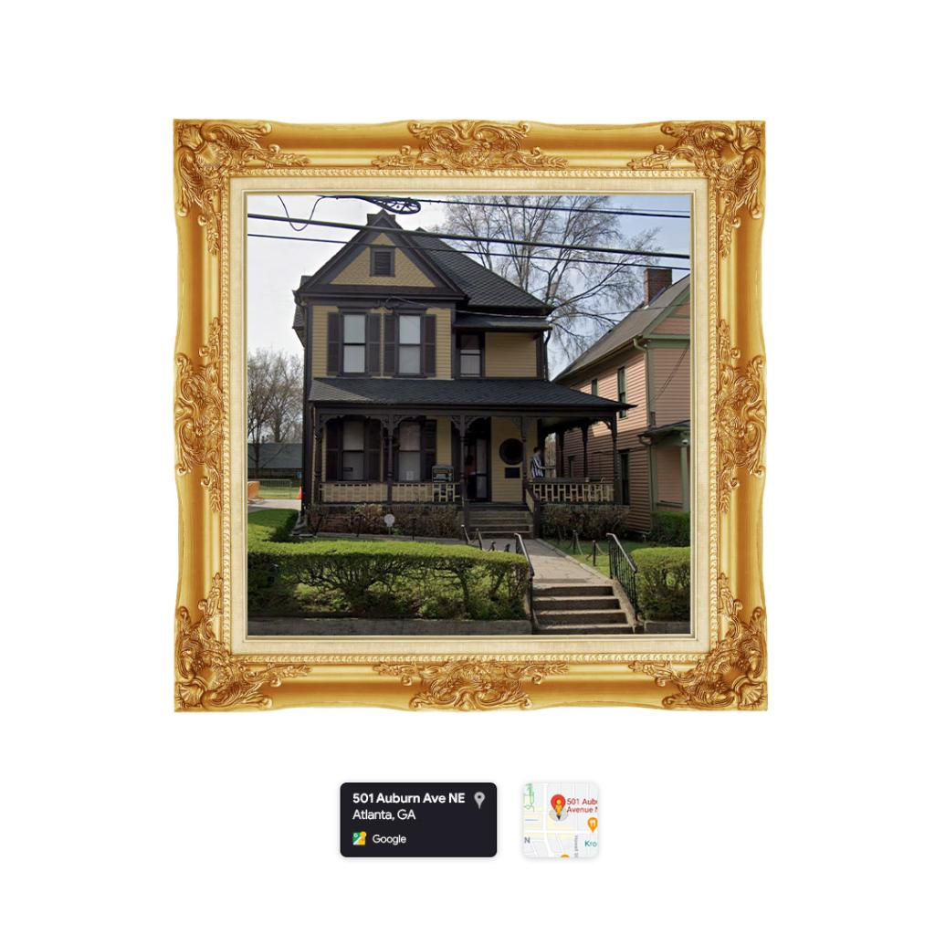 """To celebrate #MLKDay, artist Tammie Knight presents """"Still Dreaming"""", a miniature gallery featuring photos of Dr. King curated by photographer @AoctaviusW. Here you can see #MLK's childhood home as seen on Maps. For a look into more key locations in his life, visit @googlearts."""