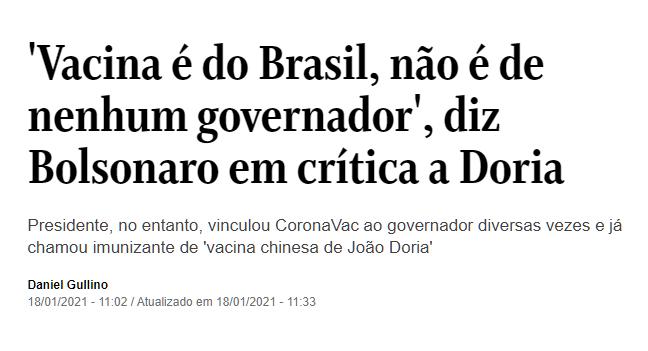 """Bolsonaro antes:  """"Essa vacina chinesa do Doria"""" """"Ninguém vai tomar essa tua vacina forçado, Doria"""" """"Essa vacina aí do Doria""""  Bolsonaro agora:"""