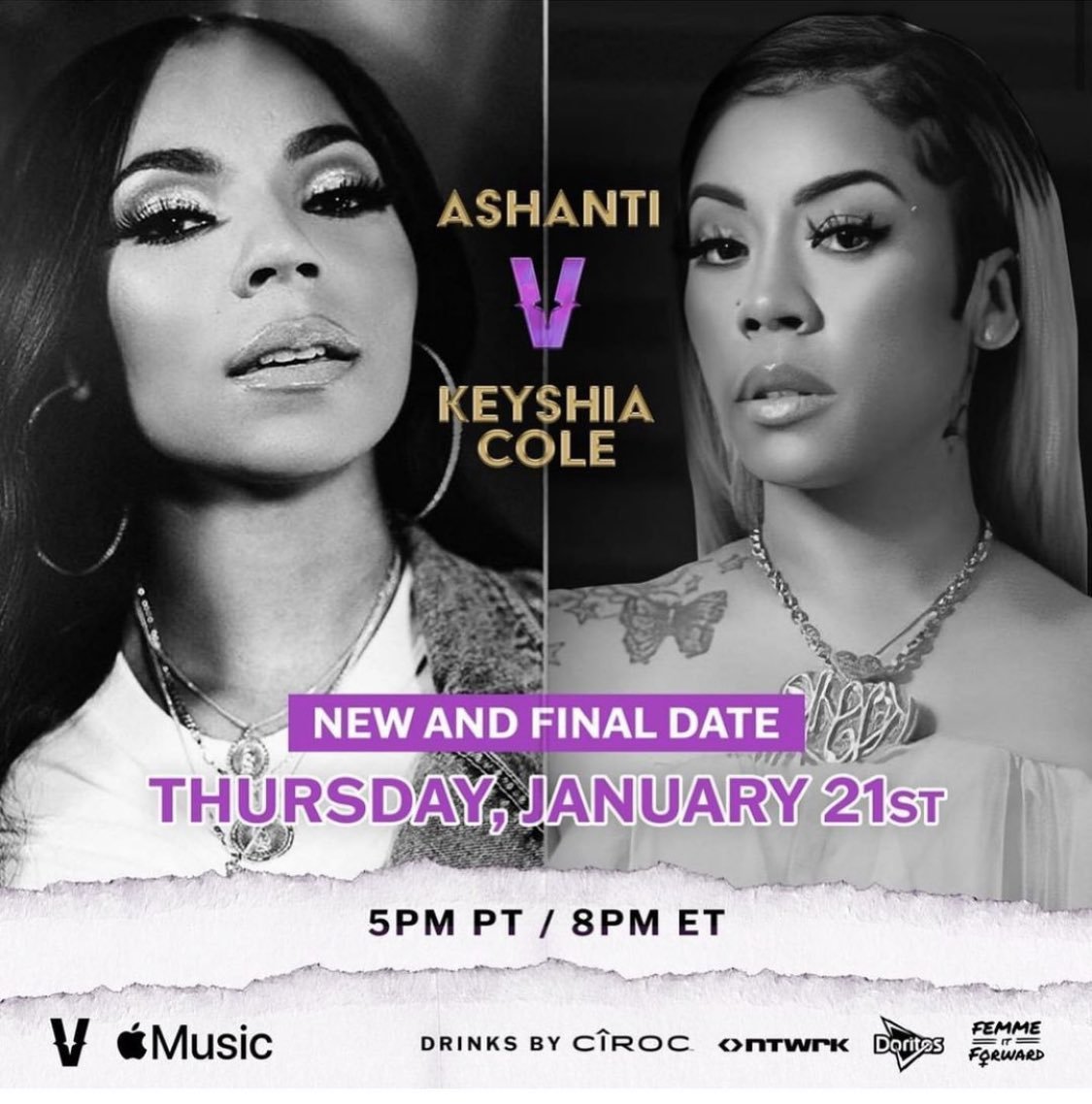 It's finally happening! #Verzuz #Ashanti #keyshiacole Thursday!