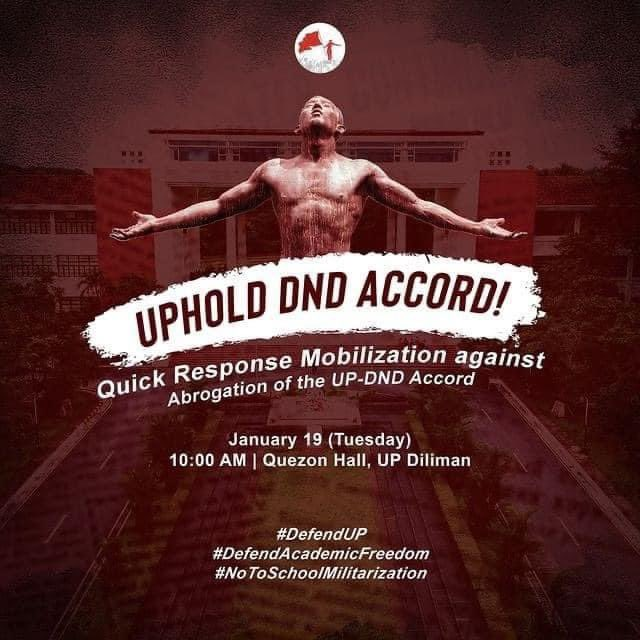 The University of the Philippines is a bastion of critical thinking and activism. Those who endanger the practice of such can only be those who abhor critical thinking and activism, because they are afraid of people and institutions who cannot accept things as they are.