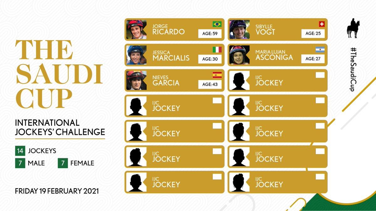 세계최고상금의 경마대회 2/20 #사우디컵 전날 19일 열리는 국제기수대항전 International Jockeys' Challenge 출전 기수. 남녀 각각 7명 #해외경마 #경마뉴스