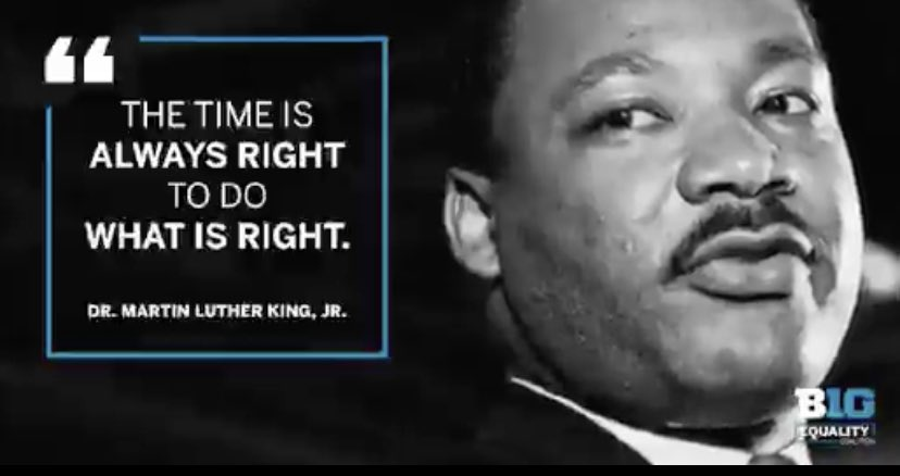 Dr. MLK, Jr inspires me to share love by celebrating people's differences, embracing people for who they are, and for standing up for what is right in this world.  We must love thy neighbor regardless of our differences. How does he inspire you? #UnitedAsOne 💙 #MLKDay @bigten