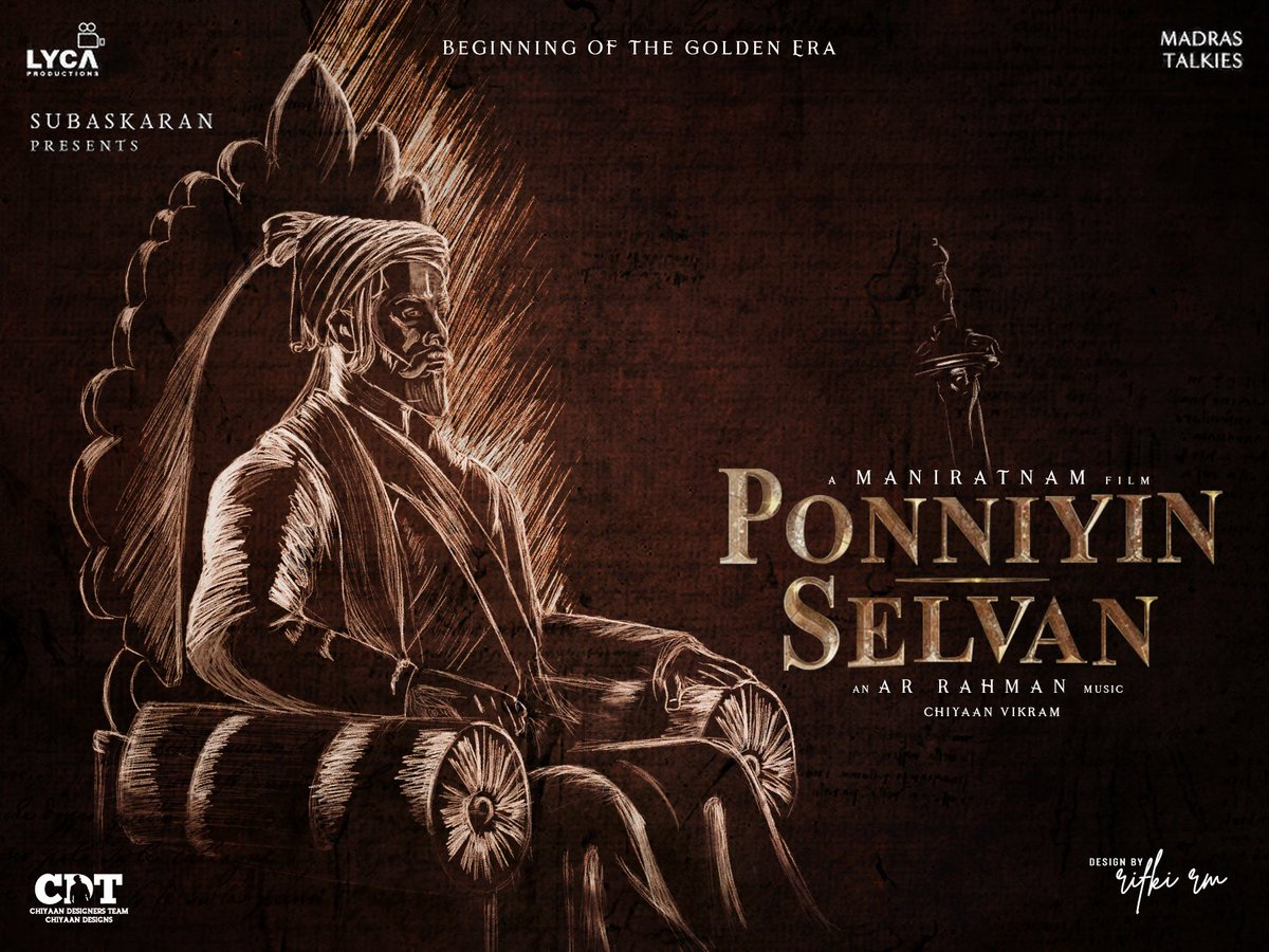 Here's awesome fan made poster design for the most awaited #PonniyinSelvan film!  Design done by @Rifki_RM_Offl  #ChiyaanVikram #Maniratnam @arrahman @actor_jayamravi @Karthi_Offl @MadrasTalkies_ @LycaProductions