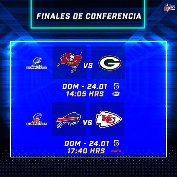 Llegamos a las finales de conferencia!! Así los horarios y televisoras para el próximo domingo: Nacional: #GoBucs 🆚 #GoPackGo  Americana: #BillsMafia 🆚 #CHIEFSKINGDOM  Picks: #GoPackGo y #CHIEFSKINGDOM  #NFL #SuperBowlLV