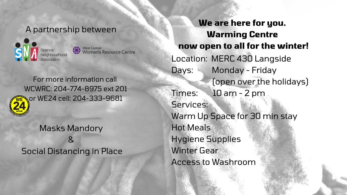 West Central Womens Resource Centre (@WCWomensCtr ) and Spence Neighbourhood Association (@SNAcommunity) have teamed up with funding from End Homelessness Winnipeg (@EHW_Wpg) to open a Warming Centre in the West End for those in need. Help spread the word!
